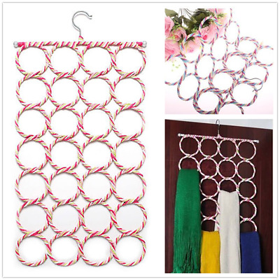 AU Shawl Scarf Hanger Belt Tie 28 Circles Rack Organizer Holder Display Hanger