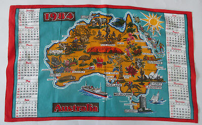 Vintage 1984 Map Of Australia Souvenir Cotton Tea Towel