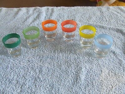 Set Of 6 Retro Coloured Shot Glasses Vintage Retro