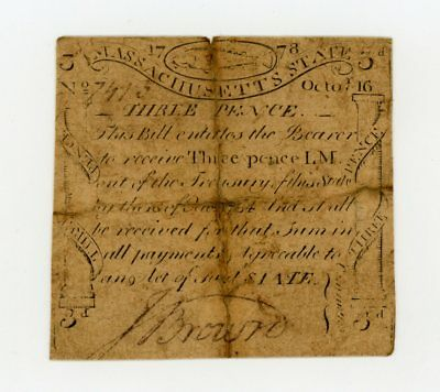 "(MA-255) Oct. 16th, 1778 3 Pence ""CODFISH"" Massachusetts Colonial Currency"