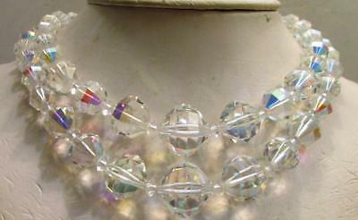 Vintage 50's Chunky Glass AB Crystal Bead Necklace Multi 2 Strand Clear