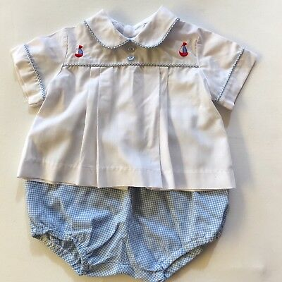 Vintage Baby Boy Clothes Two Piece Set Blue White - Sail Boat Nautical Size 00