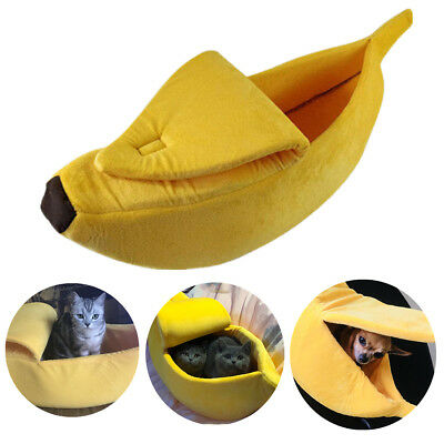 Cute Banana Pet House Cat Sofa Dog Bed Plush Warm Home Kennel Boat Shape Tent