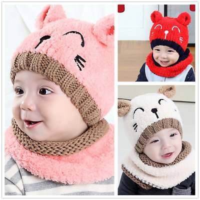 AU Toddler Kids Baby Infant Crochet Knit Hat Beanie Cap Scarf Set Christmas Gift
