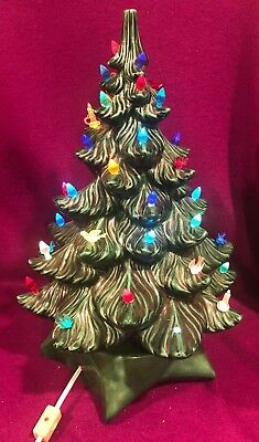 Lighted Ceramic Large Green Christmas Tree Table Top 16.5 in hi Vintage SH 1977