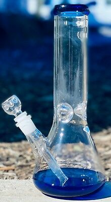 Hookah Water Pipe Heavy Glass Bong 10 inch Smoking Pipe Beaker w/ ICE catcher