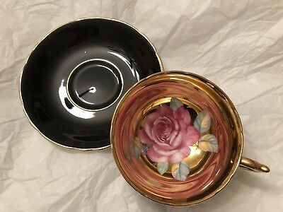 Paragon Cup and Saucer with Large Pink Rose & heavy gold / gilt READ DESCRIPTION