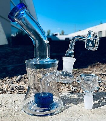 "Hookah Water Pipe Glass Bong 6"" Shower Bend Rig w/ QUARTZ Glass Banger + Bowl"