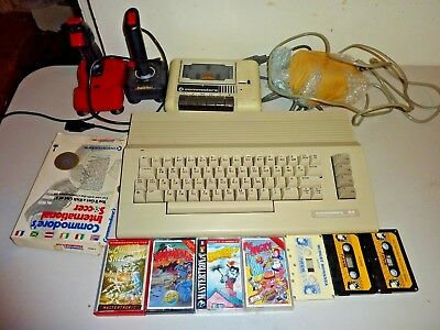 commodore 64 c64 computer datassette joysticks 10 games bundle