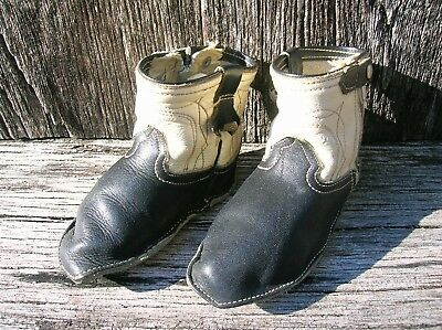 Vintage Old Pair of Infant Hand-Made Leather Black and White Cowboy Boots