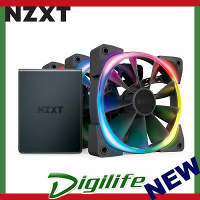 NZXT 120mm Aer RGB 2 PWM 1500RPM Fan 3 Pack With HUE 2 Lighting Controller