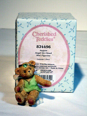 Cherished Teddies Avon ANGEL ON CLOUD August Birthstone #824496 MIB