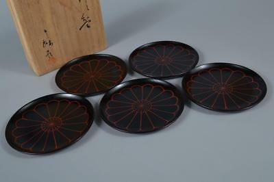 R6739: Japanese Wooden Lacquer ware SERVING PLATE/dish 5pcs w/signed box