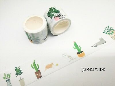 Japan Washi Tape Green Pot and Cat 30mm wide sold by meter MT211