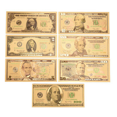 1 Set 7 Pcs Gold Plated US dollar Paper Money Banknotes Crafts For SEAU