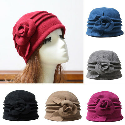 ea2b214d7c8 Womens Floral 1920s Vintage Wool Beret Beanie Cap Cloche Bucket Winter Hat  US