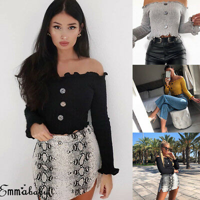 Fashion Women Off Shoulder Crop Top Long Sleeve Shirt Blouse Sweater T-shirt US