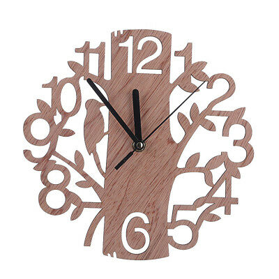 Wooden Tree Shape Wall Clock Real 3D Diy Wall Watches Living Room Home Decor UK