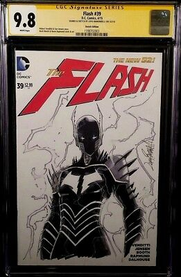 DC Comic FLASH #39 CGC SS 9.8 RED DEATH Original Sketch DARK NIGHTS METAL BATMAN