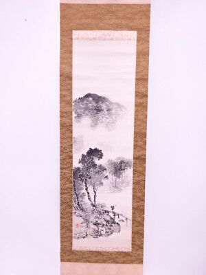 3856816: Japanese Wall Hanging Scroll / Hand Painted / Mountains