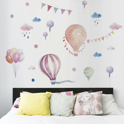 Hot Air Balloons Flag Animals wall stickers decals children bedroom DecorationC8