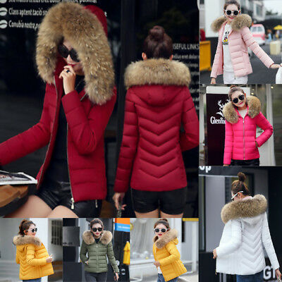 UK Womens Quilted Padded Bubble Fur Hooded Ladies Thick Warm Puffer Coat Jacket