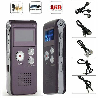 8GB Digital MP3 Player Audio Voice Recorder Rechargeable Dictaphone Telephone DS