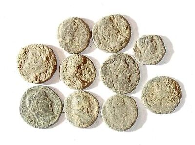 10 ANCIENT ROMAN COINS AE3 - Uncleaned and As Found! - Unique Lot 25940