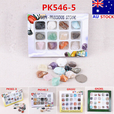 AU Natural Gemstones Stones Variety Collection Crystals Kit Student Kids Gift