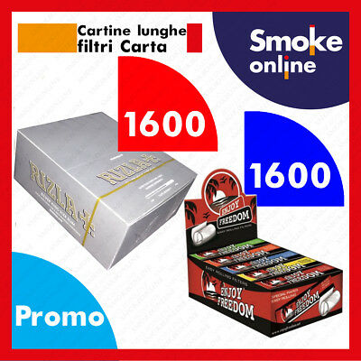RIZLA SILVER KING SIZE LUNGHE 1600 CARTINE e 1600 FILTRI CARTA ENJOY FREEDOM