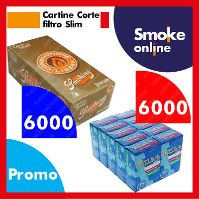 6000 Cartine Smoking Orange Corte bianche e 6000 Filtri Rizla Slim 6mm Accendino