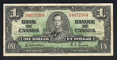 CANADA P-58b. 1937 1 Dollar.. Gordon/Towers.. Prefix H/A..  aVF
