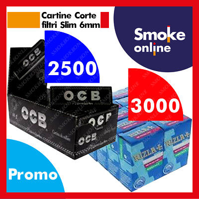 2500 (1box) Cartine OCB nere PREMIUM Corte e 3000 (2box) Filtri Rizla Slim 6mm