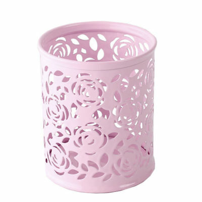 Rose Pattern Pencil Holder Round Hollow Pen Organizer Pink