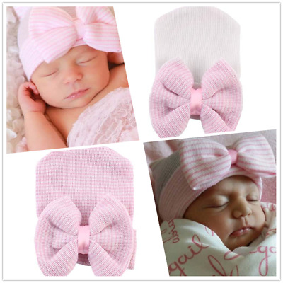 AU Pop Newborn Baby Infant Girl Toddler Comfy Bowknot Hospital Cap Beanie Hat