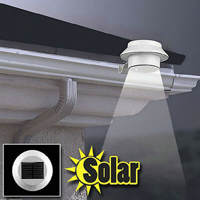 Solar Panel 3 LED Outdoor Garden Yard Fence Wall Gutter Lamp Path Stair Light CJ