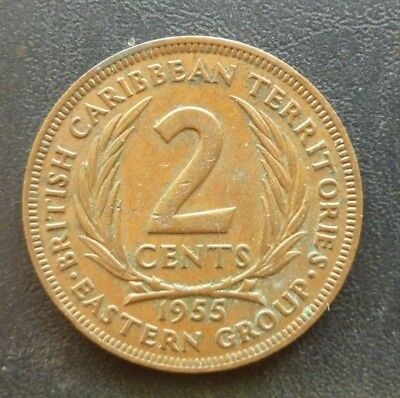 1955 Eastern British Caribbean Territories Group 2 Cents. Good Condition Coin