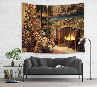 Xmas Tree Fireplace Garland Decor Tapestry Wall Hanging For
