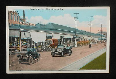 1920s French Market Old Cars Truck New Orleans LA Orleans Co Postcard Louisiana