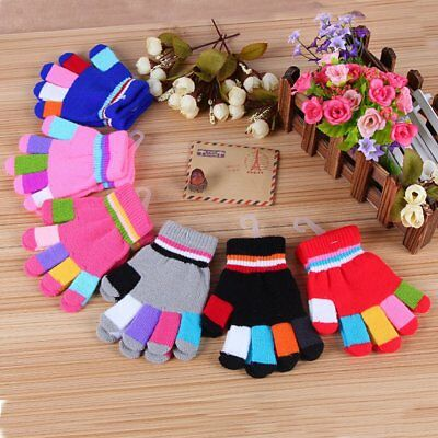 Kids Winter Warm Knitted Gloves Cute Full Finger Gloves Stretch Mittens Colorful