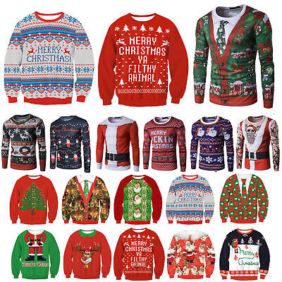 Womens Mens Unisex Ugly Christmas Sweater Xmas Jumper Sweatshirt Hoodies Tops