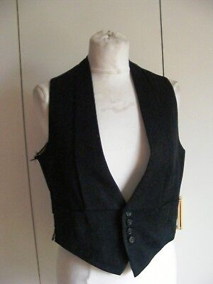 Vintage 1930s black wool formal wear evening waistcoat 36 chest some wear
