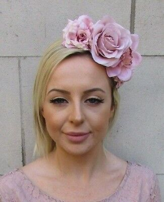 Blush Nude Light Pink Orchid Rose Flower Fascinator Headband Races Hair 6381
