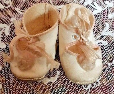 Gorgeous Pair Of 2.5 Inch Genuine Antique Leather Dolls Shoes.