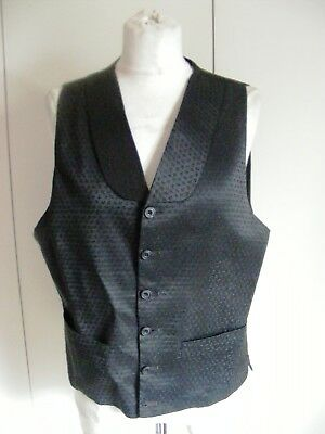 Vintage 1950s black evening waistcoat patterned brocade round lapel collar 38""