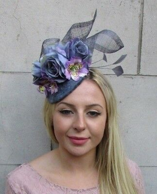 Charcoal Dark Grey Lilac Purple Flower Feather Hat Fascinator Hair Velvet 6383
