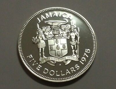 1975 Jamaica $5 Dollar Silver Coin  Proof - Norman W Manley