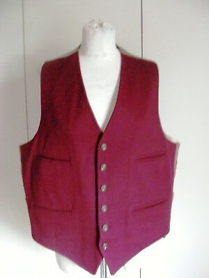 Vintage 1940s burgundy red wool felt waistcoat 4 pockets re-enactment 40s event