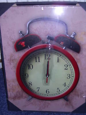 Double Bell Alarm Clock Canvas Wall Clock (Our Ref Kc12)