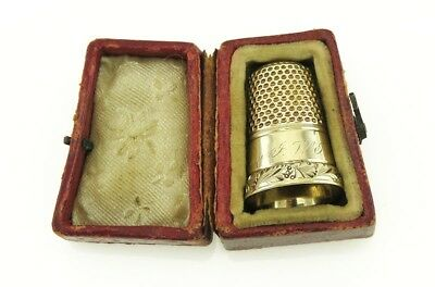 Antique 19th Century Engraved 14K Yellow Gold Sewing Thimble with Fitted Box